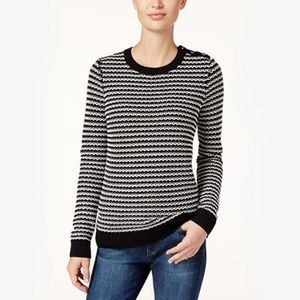 Charter Club Petite Striped Sweater, Black, PL